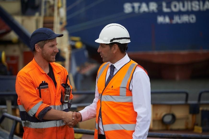 Supervisor Filip Tutak (left) with The Bristol Port Company's Training Manager Nick Venn